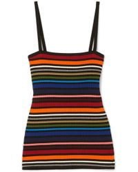 Dolce & Gabbana - Striped Ribbed Cotton-blend Camisole - Lyst