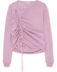 Preen By Thornton Bregazzi - Hyasinth Ruched Merino Wool-blend Sweater - Lyst