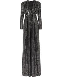 Talbot Runhof - Sequined Metallic Knitted Jumpsuit - Lyst