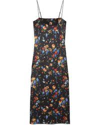 Adam Lippes - Floral-print Hammered Silk-crepe Midi Dress - Lyst