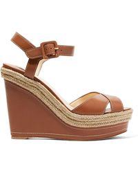 Christian Louboutin - Almeria Leather Wedge Sandals - Lyst