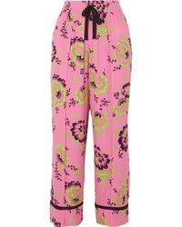 McQ - Floral-print Crepe De Chine Trousers - Lyst