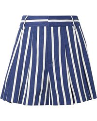 Alice + Olivia - Scarlet Pleated Striped Linen-blend Shorts - Lyst