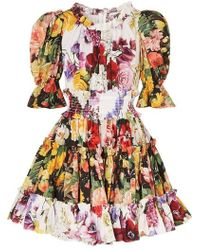 0436e00f Dolce & Gabbana Printed Cotton-Poplin Dress in Yellow - Lyst