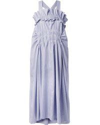 Carven - Smocked Ruffled Striped Cotton-poplin Midi Dress - Lyst