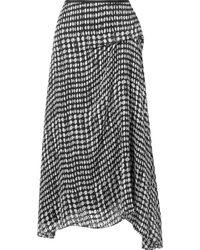 Theory - Draped Polka-dot Fil Coupé Chiffon Midi Skirt - Lyst