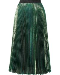 Christopher Kane - Pleated Silk-blend Lamé Midi Skirt - Lyst