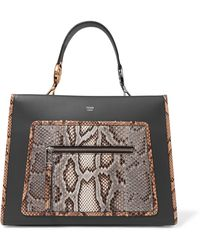 Fendi - Python-trimmed Leather Tote - Lyst
