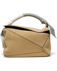 98572c8fc0b7 Lyst - Loewe Puzzle Color-block Suede And Leather Shoulder Bag in ...