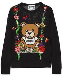 Moschino | Teddy Intarsia Open-knit Cotton Sweater | Lyst