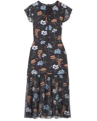 Markus Lupfer - Belle Floral-print Silk Crepe De Chine And Chiffon Midi Dress - Lyst