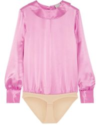 TUXE Bodywear - Scion Silk-charmeuse Bodysuit - Lyst