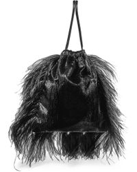 Attico - Feather-trimmed Lamé And Velvet Pouch - Lyst