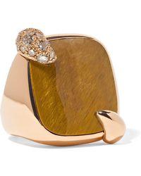 Pomellato - 18-karat Rose Gold, Tiger Eye And Diamond Ring - Lyst