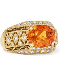 Fred Leighton - Collection 18-karat Gold, Garnet And Diamond Ring - Lyst