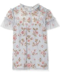 Needle & Thread - Carnation Sequin-embellished Ruffled Point D'esprit Blouse - Lyst
