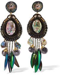 Ranjana Khan - Stella Gold-tone, Velvet And Shell Clip Earrings Gold One Size - Lyst