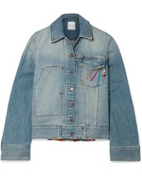 Mira Mikati - Fringed Embroidered Denim Jacket - Lyst