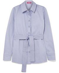 STAUD - Sabrina Belted Stretch-cotton Jacket - Lyst