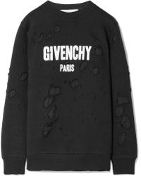 Givenchy - Oversized Distressed Printed French Cotton-terry Sweatshirt - Lyst