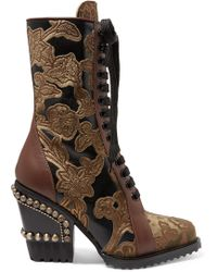 Chloé - Rylee Studded Brocade And Appliquéd Leather Ankle Boots - Lyst