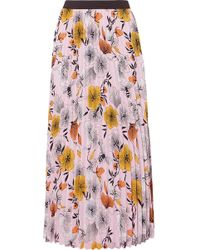 Maje - Pleated Floral-print Crepe De Chine Midi Skirt - Lyst