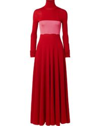CALVIN KLEIN 205W39NYC - Two-tone Ribbed Silk And Wool-blend Maxi Dress - Lyst
