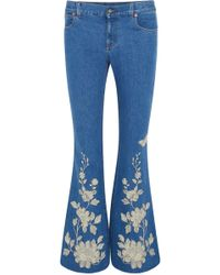 Gucci   Embroidered High-rise Flared Jeans   Lyst