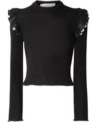 Philosophy Di Lorenzo Serafini - Ruffled Broderie Anglaise-trimmed Ribbed Wool Jumper - Lyst