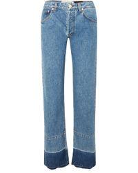 Loewe - + Paula's Ibiza Twill-paneled Mid-rise Straight-leg Jeans - Lyst