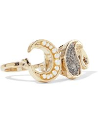 Etro - Gold-tone, Crystal, Enamel And Faux Pearl Two-finger Ring - Lyst