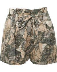 L'Agence - Alex Printed Silk-satin Shorts - Lyst