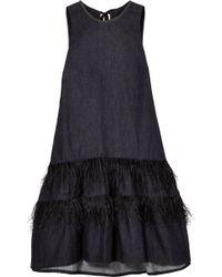 Brunello Cucinelli - Feather-trimmed Bead-embellished Denim Dress - Lyst