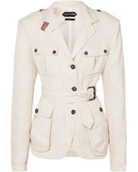 Tom Ford - Belted Leather-trimmed Twill Jacket - Lyst