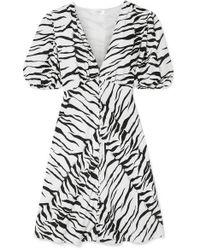 RIXO London - Zanita Zebra-print Crepe De Chine Mini Dress - Lyst