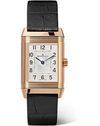 Jaeger-lecoultre - Reverso Classic Duetto 21mm Small Rose Gold, Alligator And Diamond Watch Rose Gold One Size - Lyst