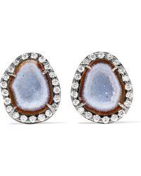 Kimberly Mcdonald | 18-karat Blackened White Gold, Geode And Diamond Earrings | Lyst