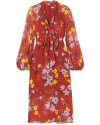 Erdem - Tamaryn Pussy-bow Floral-print Silk-chiffon Midi Dress - Lyst