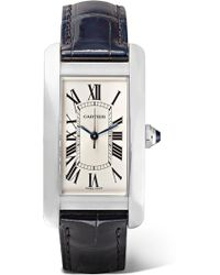 Cartier - Tank Américaine 22.6mm Medium Stainless Steel And Alligator Watch - Lyst