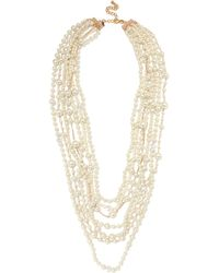 Kenneth Jay Lane - Gold-plated, Crystal And Faux Pearl Necklace - Lyst