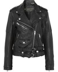 Burberry - Washed-leather Biker Jacket - Lyst