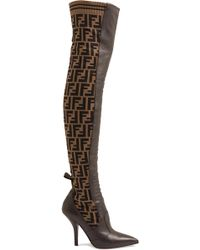 Fendi - Rockoko Logo-jacquard Stretch-knit And Leather Over-the-knee Boots - Lyst
