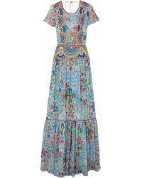 Matthew Williamson | Deia Fiesta Embroidered Printed Silk-chiffon Maxi Dress | Lyst