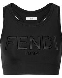 Fendi - Roma Cutout Appliquéd Stretch Sports Bra - Lyst
