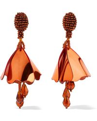 Oscar de la Renta - Mini Impatiens Beaded Clip Earrings - Lyst