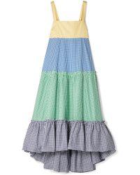 MDS Stripes - Tiered Gingham Cotton-poplin Maxi Dress - Lyst