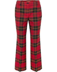 Michael Kors - Cropped Tartan Wool Straight-leg Trousers - Lyst