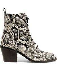 Diane von Furstenberg - Dakota Lace-up Snake-effect Leather Ankle Boots - Lyst