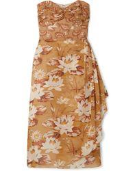 Anna Sui - Draped Floral-print Silk-chiffon And Crepon Dress - Lyst