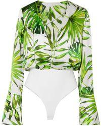 Caroline Constas - Daria Printed Silk-satin And Stretch-jersey Bodysuit - Lyst